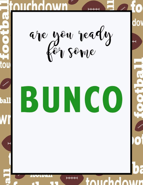 Football Themed Bunco Printable Set Scorecard Table Numbers Instructions And More