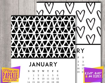 printable calendar 2018, monthly 2018 calendar, 12 month calendar pages, seasonal patterns calendar, Letter size, A4, 8x10, Black and white