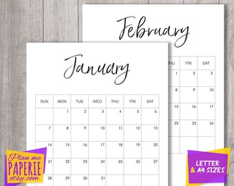 2018 calendar printable, wall calendar, 2018 Monthly Calendar Printable, 12 Month Calendar Pages, minimalist Monthly Planner, US Letter, A4