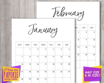 printable 2018 calendar, 2018 Monthly Calendar Printable, 12 Month Calendar Pages, Monthly Planner, A5, Half size, minimalist, wall calendar