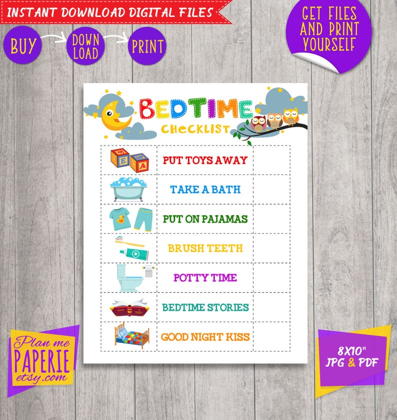 picture relating to Bedtime Routine Chart Printable referred to as Bedtime Plan For Children