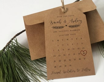 Save the Dates Tag Magnet Calendar and Envelope– Elegant, Kraft Brown, Wedding Invitation, Save the Date Magnet, High Quality, Personalized