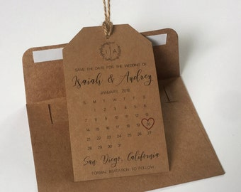 Save the Dates Tag Wedding Calendar and Envelope– Elegant, Kraft Brown, Wedding Invitation, Save the Date Magnet, High Quality, Personalized