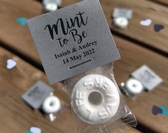 50 Custom Wedding Mints - Kraft Gray, Mint To Be, Wedding Favors, Wedding Candy, High Quality, Personalized