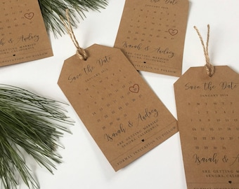 Wedding Save the Dates Tag Calendar and Envelope– Elegant, Kraft Brown, Wedding Invitation, Save the Date Magnet, High Quality, Personalized