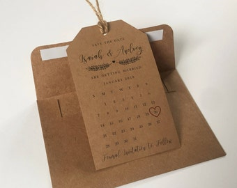 Magnetic Save the Dates Tag Calendar and Envelope– Rustic, Kraft Brown, Wedding Invitation, Save the Date Magnet, High Quality, Personalized