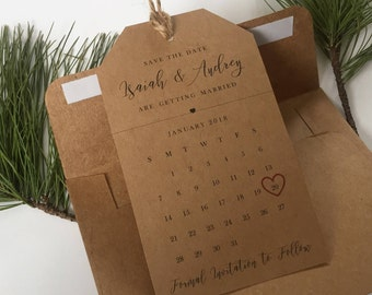 Wedding Save the Dates Magnet Tag Calendar and Envelope- Kraft Brown, Wedding Invitation, Save the Date Magnet, High Quality, Personalized