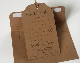 Save the Dates Magnetic Tag Calendar and Envelope– Rustic, Kraft Brown, Wedding Invitation, Save the Date Magnet, High Quality, Personalized