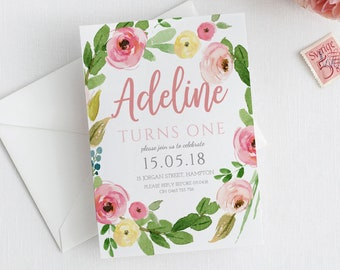 Birthday invite, birthday invitation, girls birthday, 1st birthday, floral invitation, garden party templett instant download BELLE