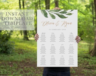 greenery seating plan editable diy seating chart printable seating plan wedding seating wedding plan templett instant download hannah