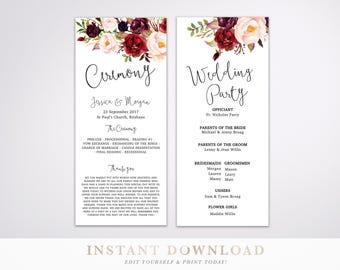 Ceremony Program Wedding Program Church Program Template Etsy