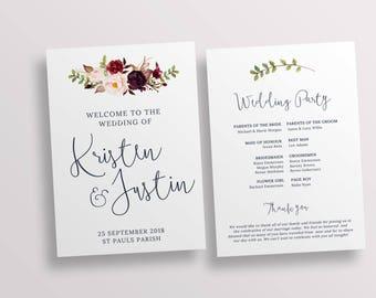 templates wedding ceremony programs