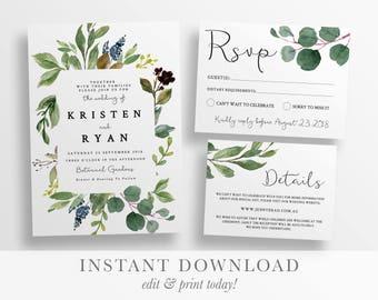 Botanical Invitation Etsy
