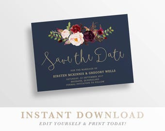 e29f546a1caf7 Save the date, printable save the date, save the date card, navy gold save -the-date, boho save the date templett instant download Lucy 93487