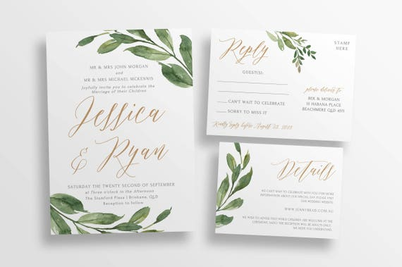 Diy Wedding Invitations Canada: Greenery Wedding Invitation Suite DIY Editable Wedding