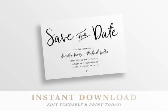 save the date printable save the date save the date card etsy