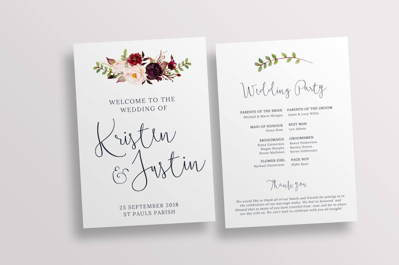 Wedding Ceremony Programs.Ceremony Program Wedding Program Church Program Template Wedding Ceremony Printable Program Templett Instant Download 128268