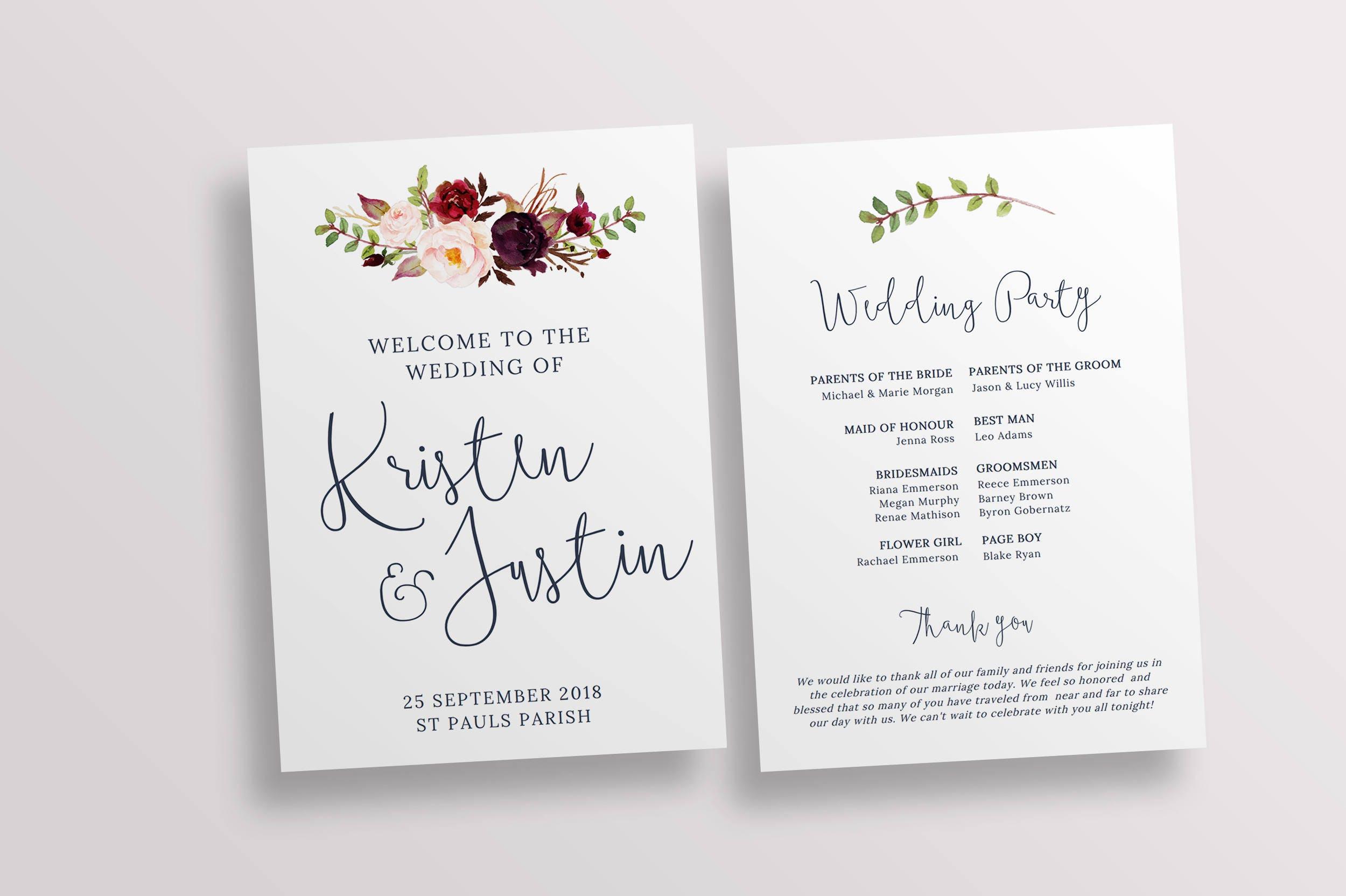 Wedding Ceremony Program.Ceremony Program Wedding Program Church Program Template Wedding Ceremony Printable Program Templett Instant Download 128268