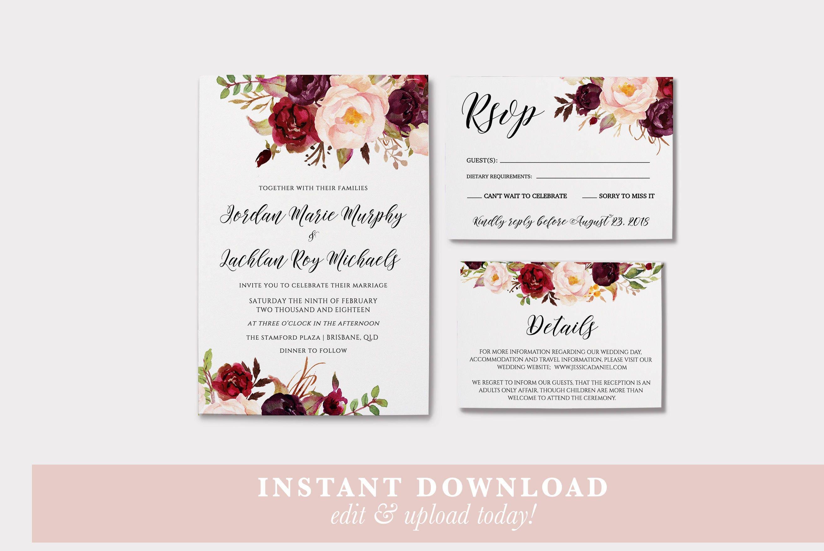 Marsala Wedding invitation wedding invitations printable   Etsy