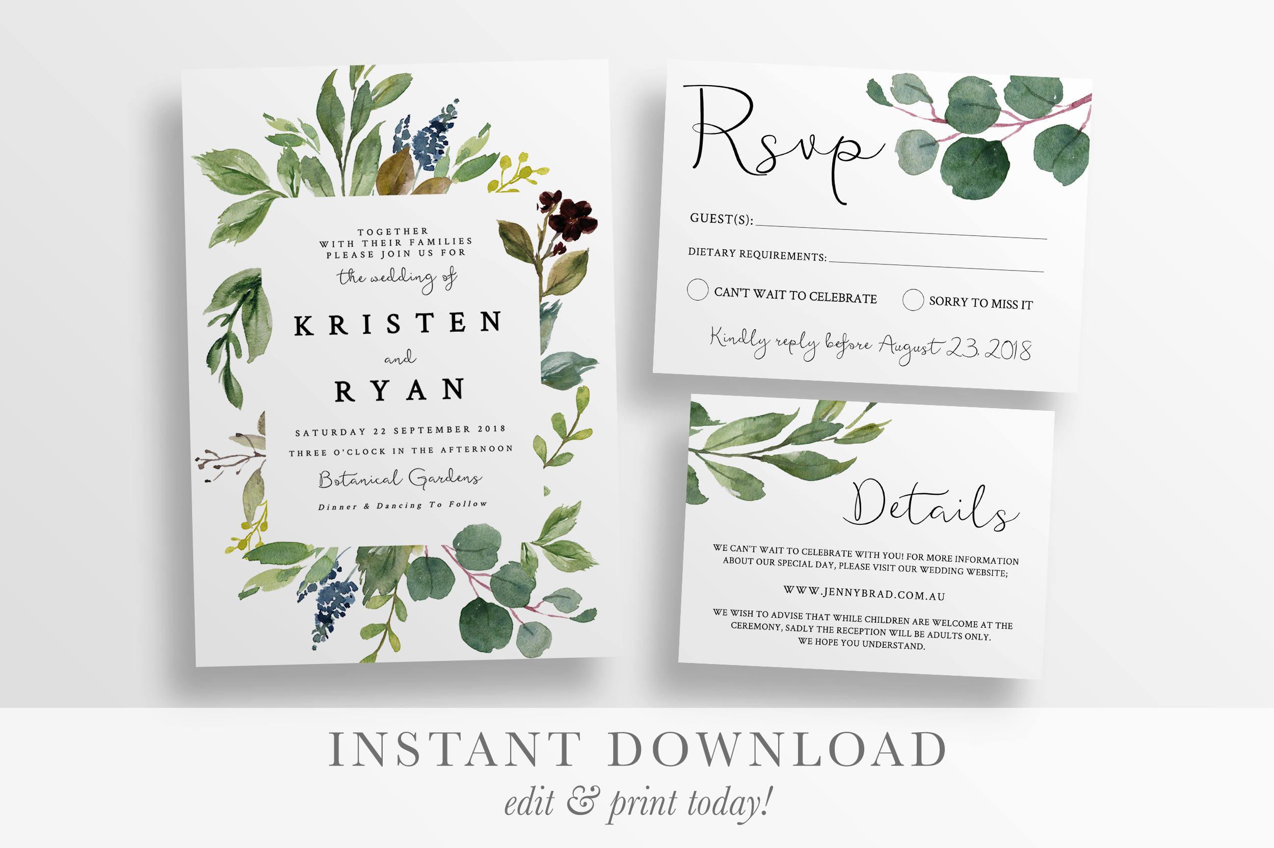 Rustic Wedding Invitations Nz: Wedding Invitation Printable Rustic Spring Botanical