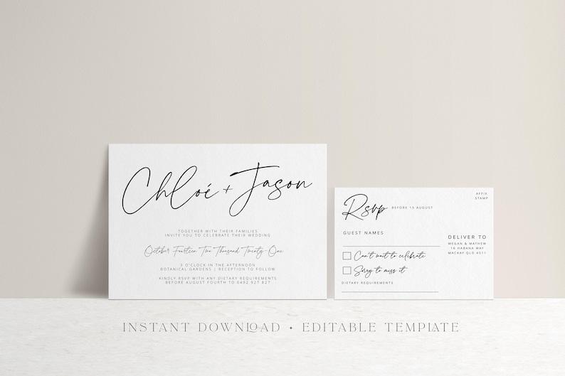 Modern Script Wedding Invitation SUITE Template Download Printable Templett instant download LUXE