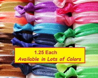 Hair Ties Bulk You Pick Your Colors No Crease Elastic Bands Hand Knotted and Sealed Ponytail Holder Teen Woman Accessories Lot Sports Yoga
