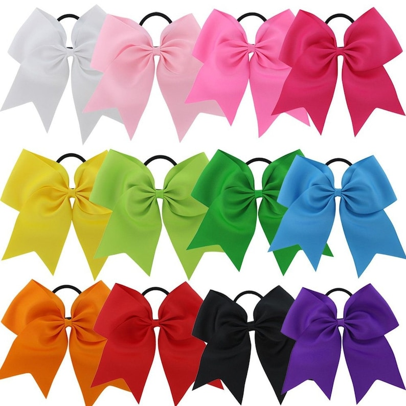 "NEW /""LIME GREEN/"" Cheer Bow Pony Tail 3 Inch Ribbon Girls Hair Bows Cheerleading"