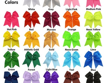 """Cheer Bows 7"""" Ribbon w Ponytail Holder for Girls Women Cheerleading Softball Big Cheap Hair Bow Blanks to Custom Personalized with Sayings"""