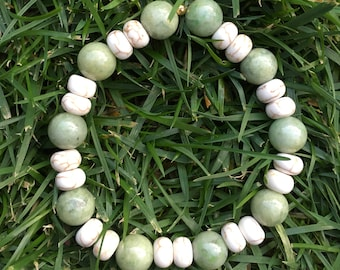 Howl to the Serpent | Howlite and Serpentine Bracelet