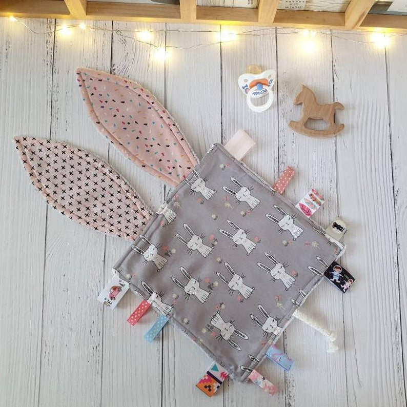 Personalised Baby Comforter Taggy Blanket Comfort Blankie Taggie Shower Gift