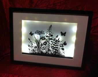 Wild Flowers in white light - hand cut