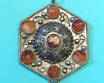 Vintage Large Silver Tone Hexagon Pendant with Faux Amber or Faux Tone Resin