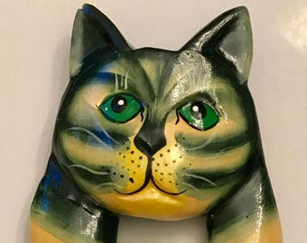 Vintage Wooden Hand Painted Cat Brooch