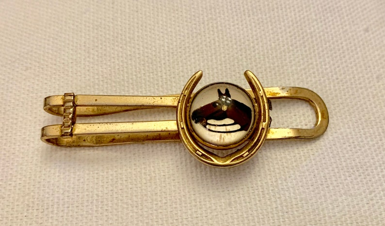 Vintage Anson Reverse Carved Intaglio Horseshoe And Horse Head Gold Tone Tie Clip Money Clip