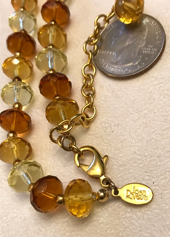 Vintage Joan Rivers Cloisonn\u00e9 Yellow Heart with Flower Design on Crystal Beaded Necklace