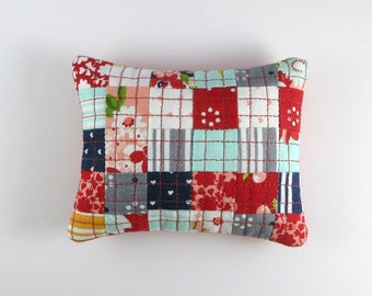 Handmade, Scrappy, Quilted Pincushion with Walnut Shell Stuffing