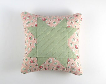 Handmade, Quilted, Pink and Green, Floral Star Pincushion, Filled with Crushed Walnut Shells
