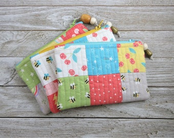 Handmade, Patchwork, Zipper Pouch with Hello Sunshine Fabric