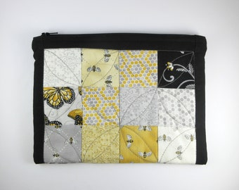 Handmade, Scrappy Bee and Butterfly, Zipper Pouch with Free Motion Quilting