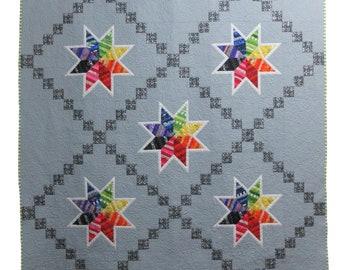 Handmade, Scrappy, Modern, Rainbow Star Quilt