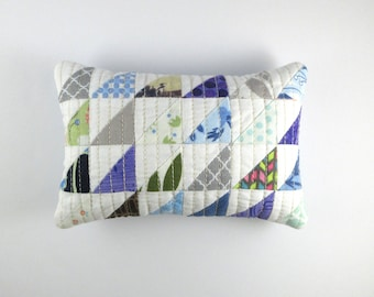 Handmade, Scrappy, Quilted, Half Square Triangle Pincushion with Walnut Shell Stuffing