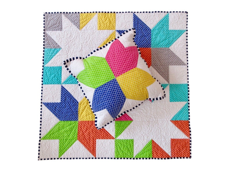 Handmade Rainbow Inside Out Star Baby Quilt image 0