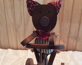 Vintage Handmade Wooden Pig And Wooden Tricycle / Farm House Decor/ Decorative / Country Decor / Toy