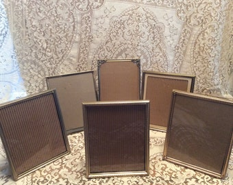 Vintage Collection of 6 Gold Toned / Metal / 8 x 10 Picture Frames / Ornate / Decorative / Instant Collection
