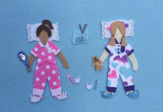 17abb4106cd91 Soirée pyjama feutre planche Dolls faire semblant de jouer
