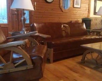 Merveilleux 1950u0027s Equestrian Naugahyde Couch Sofa Sleeper Rocker Living Room Set 8pc