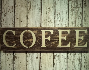 Hand Stenciled wood Coffee Sign