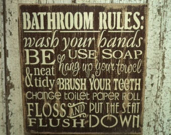 """Hand Stenciled wood """"Bathroom Rules"""" Sign"""