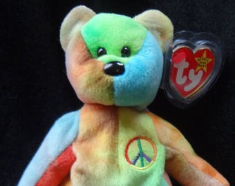 d1b081212a1 TY Peace Beanie Baby RARE w  17 Errors - 1996 Early Production - MINT  condition with Tag Protector