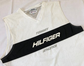 c7a41920c5f Vintage 90 s TOMMY HILFIGER Athletics Tank Top Jersey Big Logo